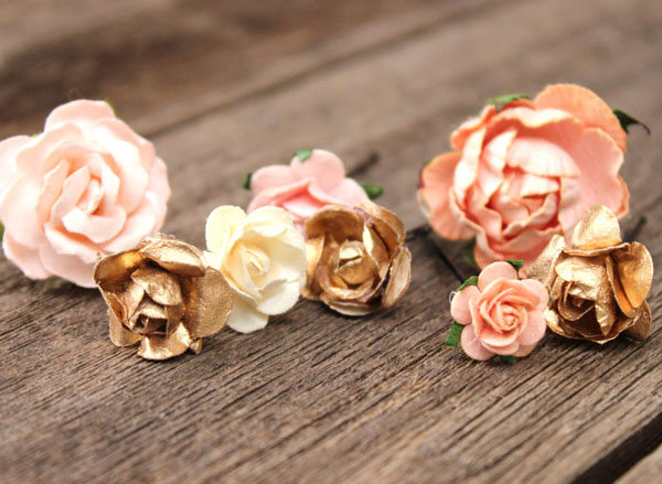 Bridal Hair Flower Pins Peach and Gold Roses Small Ivory Hair Floral